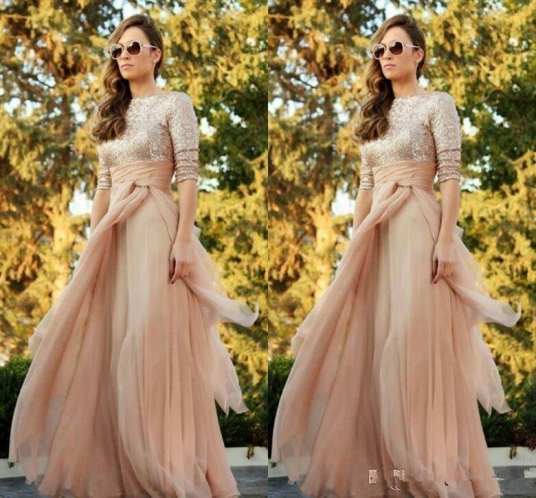 2019 Sparkly Cheap Blush Tulle   Bridesmaid     Dresses   Sexy Crew Long Sleeve Sequins Ruffles Floor Length Maid of Honor   Dress   Cust