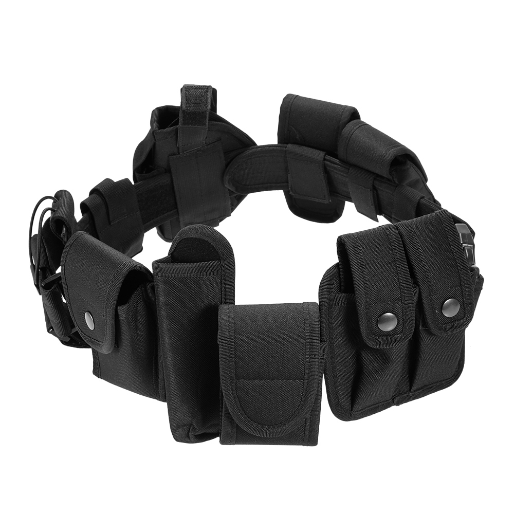 Lixada Outdoor Men Belt Multi-function Tactical Belt Security Military Duty Utility Belt Equipment with Pouches Holster Gear image