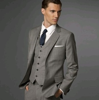 New Arrival Custom Made Gray Groom Mens Tuxedo Suits With Gray Vest,Bespoke Gray Tuxedo,Tailored Lapel Mens Suits