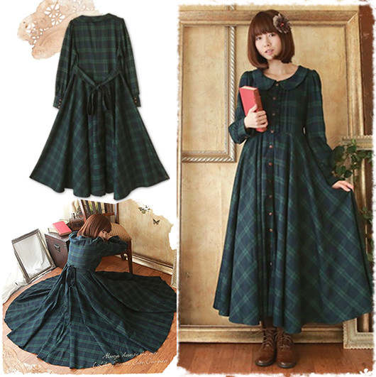 56d5df3580f45 Japanese Style Mori Girl Maxi Dress Classic British Plaid Deep Green Long  Dress