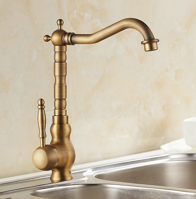 Single Handle Swivel Spout Sink Faucet Vintage Retro Antique Brass Kitchen Hot & Cold Mixer Tap Can001 retro antique brass bathroom kitchen faucet single handle single hole rotation spout deck cold and hot water mixer sink tap