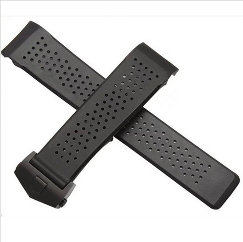 22mm NEW MEN Depolyment Silver Buckle Curved end Black Diving Silicone Rubber Watchband Bands Straps - Happy buy funny try store