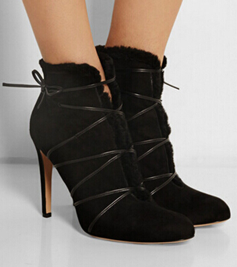 New arrival women boots preto suede leather ankle boots pointed toe lace-up botas mujer sexy high heels women party shoes apoepo new arrival suede leather high heel ankle boots pointed toe fringe ankle wrap women bootie size 35 to 41 party dress shoe