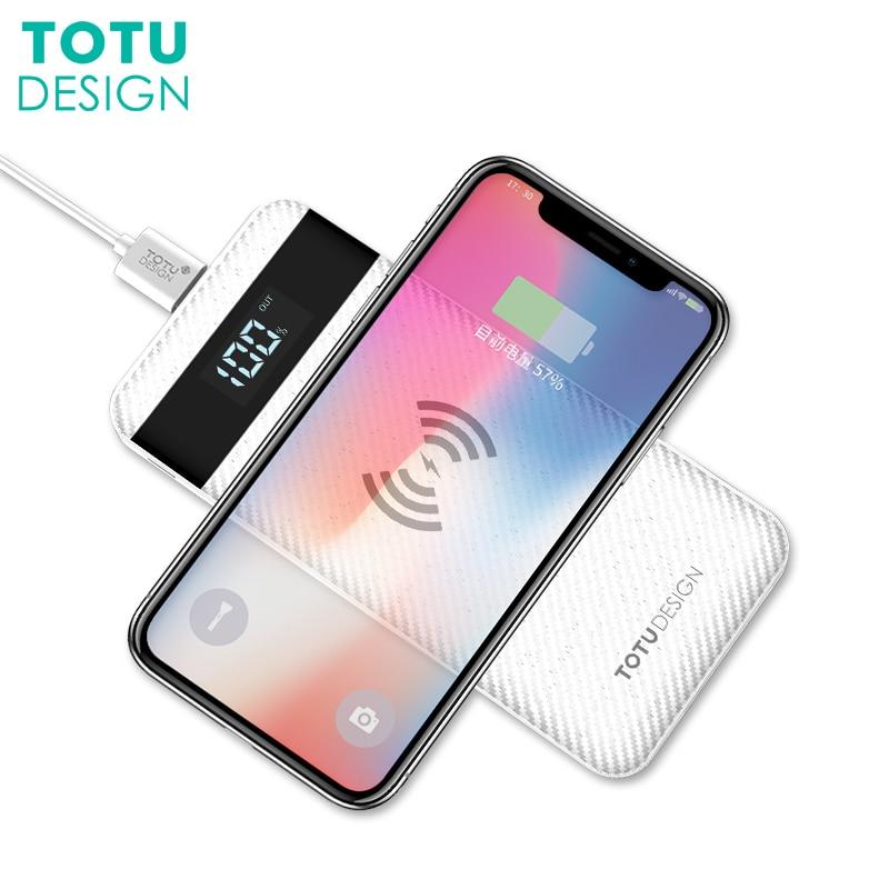 TOTU 10000 mah QI Sans Fil Chargeur Power Bank Pour iPhone X 8 Plus Affichage LED Dual USB Externe Batterie Powerbank Pour Samsung S8