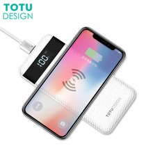 TOTU 10000mah QI Wireless Charger Power Bank For iPhone X 8 Plus LED Display Dual USB External Battery Powerbank For Samsung S8
