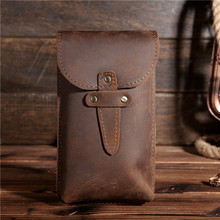 Mens Genuine Leather Fanny Waist Pack Small Pouch Mini Cell/Mobile Phone Pocket Male Money Bum Hook Bag Vintage