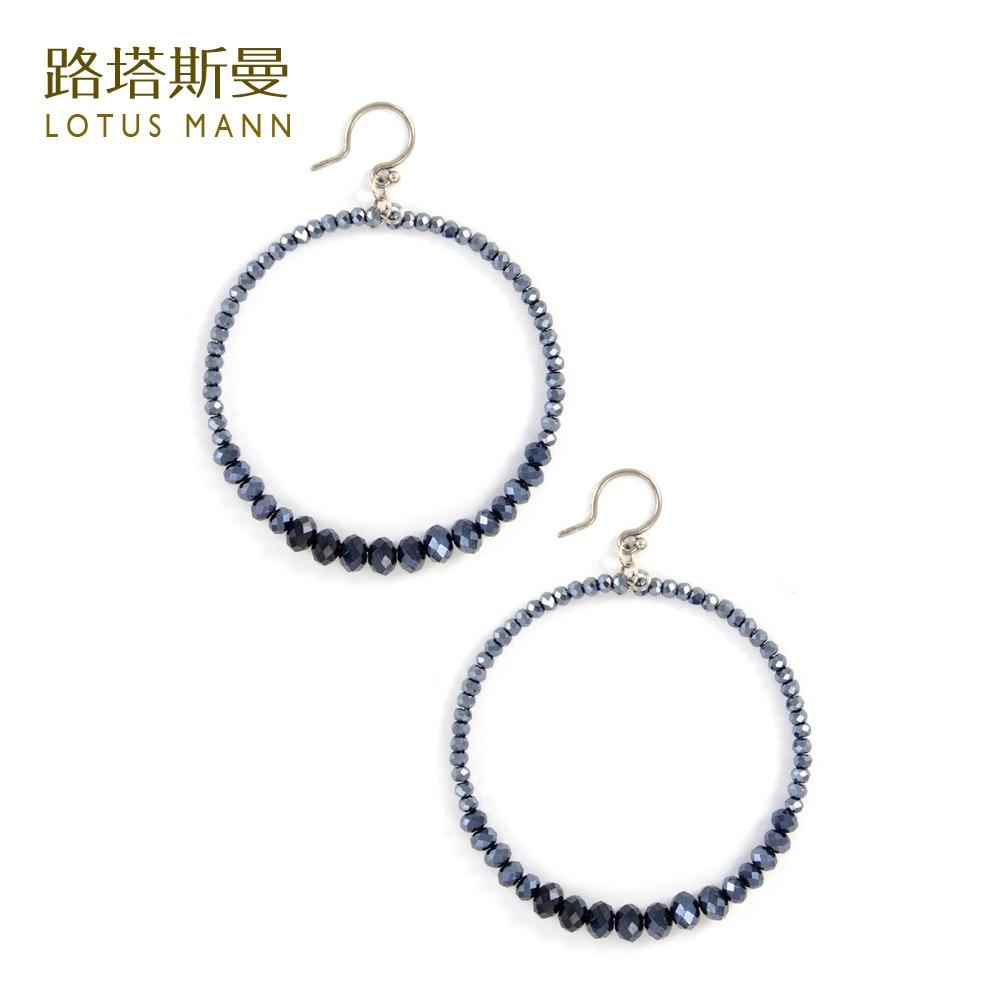 45cf33efb03b Lotus Mann cristal Azul anillos de plata de ley pendientes gancho de oreja