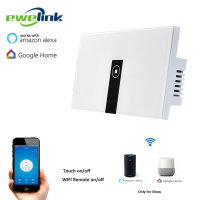 Ewelink US Type 1 Gang 1 Way Wall Light Switch Touch Control Panel Wifi Remote Control