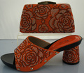 Orange Shoes And Bag To Match Italian African Wedding Shoe And Bag Sets High Quality Matching Shoes And Handbag ME2215