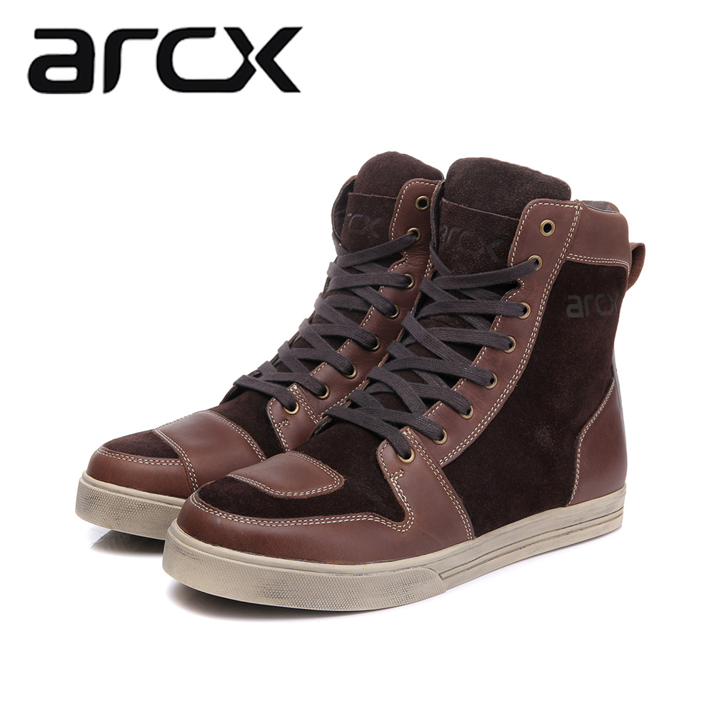 ARCX Motorcycle Boots Waterproof Cow Leather Moto Riding Boots Men Road Street Casual Shoes Motocross Breathable Protective Gear arcx motorcycle boots off road racing shoes men leather moto boots motocross boots street moto touring riding motorcycle shoes