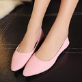 Uwback 2017 New Brand Women Spring Shoes Pointed Toe Shallow Pink/Black/Gray Flat Lady Shoes Plus Size PU Office Boat ShoeXJ327