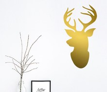 Merry Christmas Wall Decals Deer Head Wall Decal  Deer Head Sticker custom living room  removable vinyl decals F-9 removable deer pattern christmas showcase wall stickers