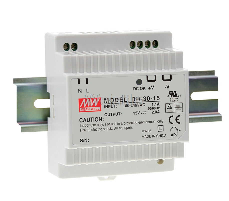 MEAN WELL DR-30-5 5V <font><b>12V</b></font> 15V 24V 36W 30W 24W 3A 2A <font><b>1.5A</b></font> Industrial DIN Rail <font><b>Power</b></font> <font><b>Supply</b></font> DR-30-12 DR-30-15 DR-30-24 image
