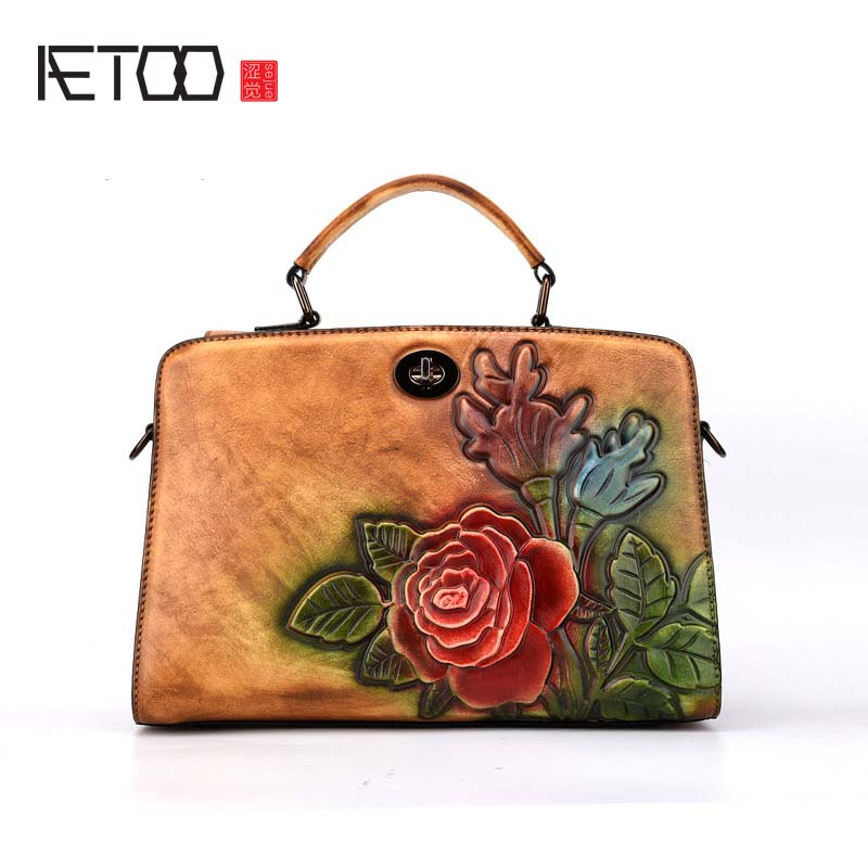 AETOO New lady vintage rubbing process Shoulder Messenger bag trendy fashion flowers first layer of leather handbags flowers qiaobao 2018 new korean version of the first layer of women s leather packet messenger bag female shoulder diagonal cross bag