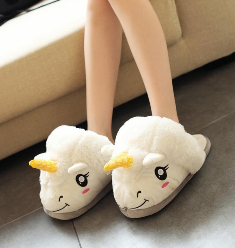unicorn Slippers Full Heel Plush Home Cotton Slippers Couple Gifts Winter Cotton Slippers Shoes lovely slipper Non-Slip 35-40 slipper