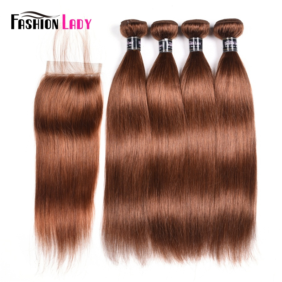 Fashion Lady Pre-Colored 4 Bundles Reddish Brown 30# Brazilian Straight Hair Weave Bundles With Free Part Lace Closure Non-Remy