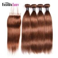 Fashion Lady Pre Colored 4 Bundles Reddish Brown 30# Brazilian Straight Hair Weave Bundles With Free Part Lace Closure Non Remy