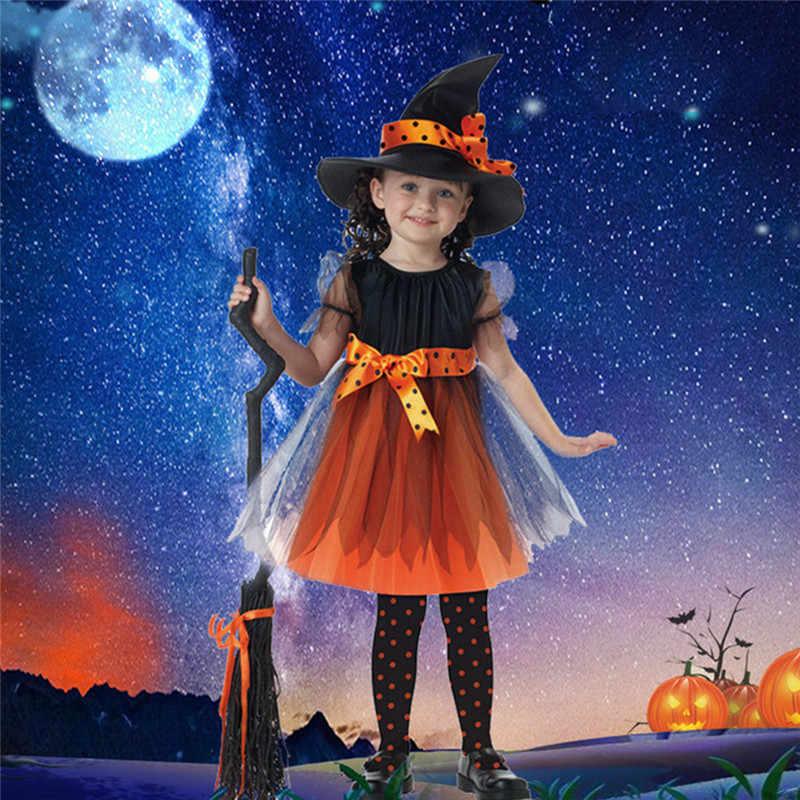 2019 Новое поступление Хэллоуин вечерние Для детей костюм ведьмы для косплея для девочек костюм на Хэллоуин вечерние ведьмы платье со шляпой