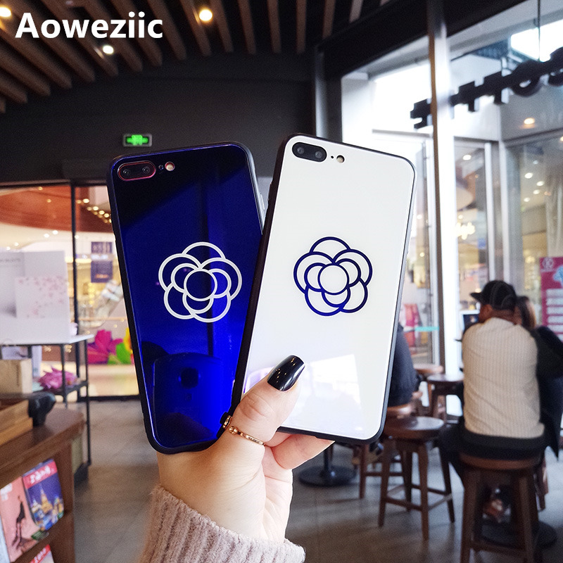 Aoweziic Camellia For iPhoneX XS mobile phone shell net red 7plus glass shell 6S full package soft border drop 8P lovers in Fitted Cases from Cellphones Telecommunications