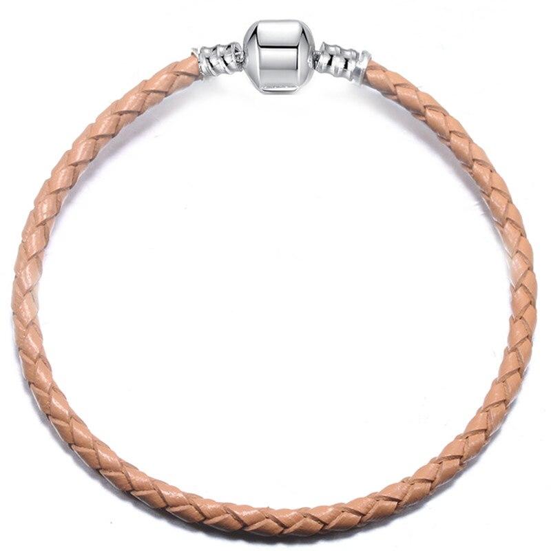BAOPON, Прямая поставка, высокое качество, 9 цветов, кожаная цепочка, браслеты с подвесками, сделай сам, прекрасный браслет для женщин, девушек, ювелирное изделие, подарок - Окраска металла: Gray-1