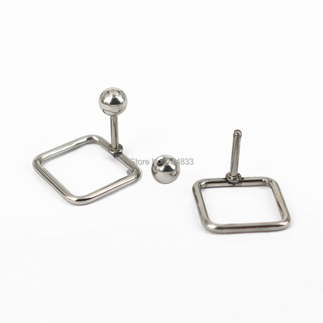 12mm Stainless Steel Stud Earrings Ball Stopper Filigree Square Wire Simple Geometric Designs Post