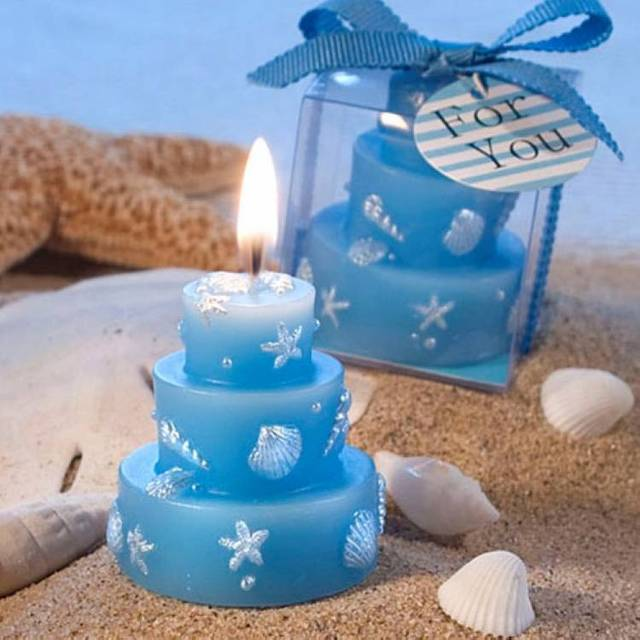 Blue Ocean Style Candle Birthday Cake Wax Candle Party Christmas