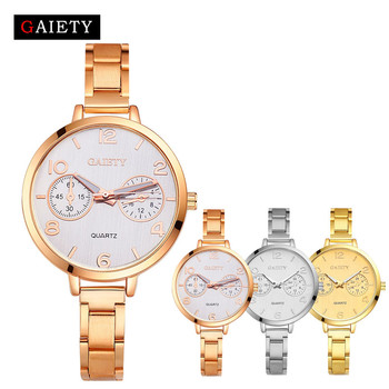2018 GAIETY Watches Women Fashion Chain Analog Stainless Steel Band Quartz Round 2 Dials Rose Gold Wrist Watch Watches May 27 analog watch