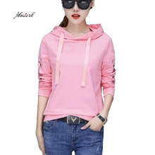 Floral Embroidery Tie Hooded Autumn Winter 2017 Long Sleeve Women Hoodies Sweatshirts Sweat Girl student Thin pullovers  p003