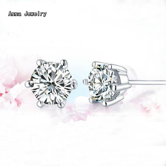 Dazzling 1cm CZ Stones 925 Sterling Silver Stud Earrings,Real 925 Silver  Material with Shiny Stone,Finest Earring for Women Men
