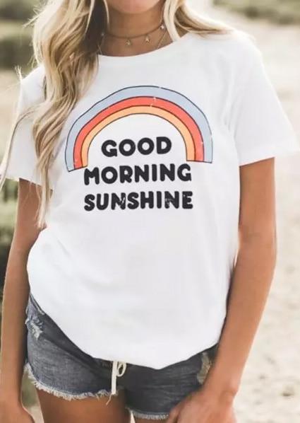 New T-Shirt Women Short Sleeve Letter Good Morning Sunshine Rainbow Print T-Shirt 2018 Casual Female White Tee Ladies Tops Tee