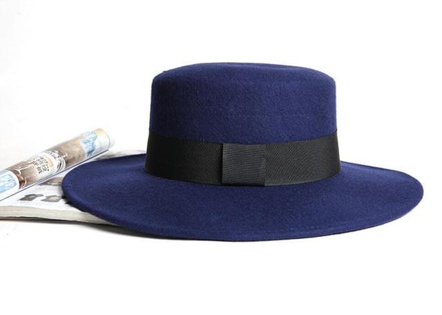 10pcs lot Classic Men Green Wool Felt Boater Hat Spring Womens Woolen  Fedora Hat Black Ribbon Autumn Mens Fedoras Caps Wholesale a486d964fa5