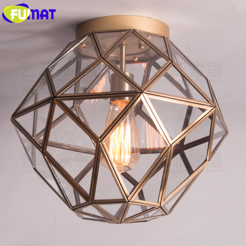 American Vintage Metal Ceiling Lamps Glass Lampshade Light Minimalist Bedroom Balcony Corridor Diamond Shape Ceiling Lights loft style metal cage ceiling lights hotel corridor creative ceiling lamps restaurant aisle balcony kitchen for home lighting