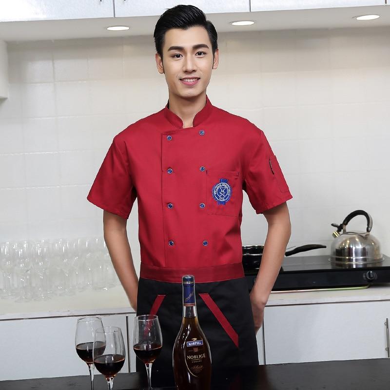 Chef Wear Short Sleeved Adult Kitchen Chef Uniform Male Fashionable Unisex Chef's Uniform,Chef Top Jackets Work Wear  B-6081