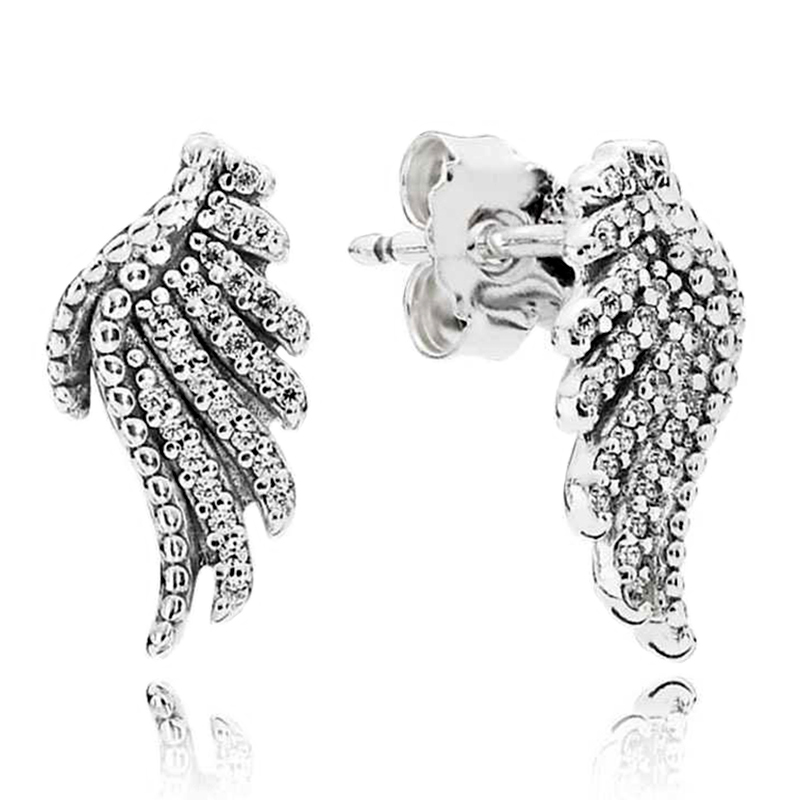 Feather Fairy Wings Stud Earrings For Women Fit Brand Earrings Fashion Bridal Wedding Jewelry Christmas Gift in Stud Earrings from Jewelry Accessories