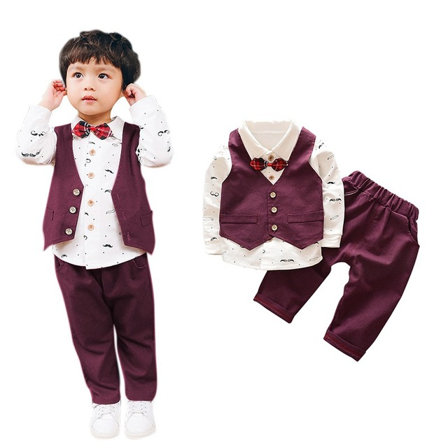 Boy Sets Gentlemen Baby Clothing Set  Vest+Shirt +Pants Baby Outfit Clothing Sets  Long-sleeved 3 pcs 2018 free shipping