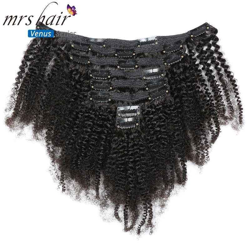 "MRSHAIR 8pcs/set Afro Kinky Curly Wave Human Hair Clip In Remy Hair Extensions 8""-20"" Natural Color Full Head 120g Middle Thick"