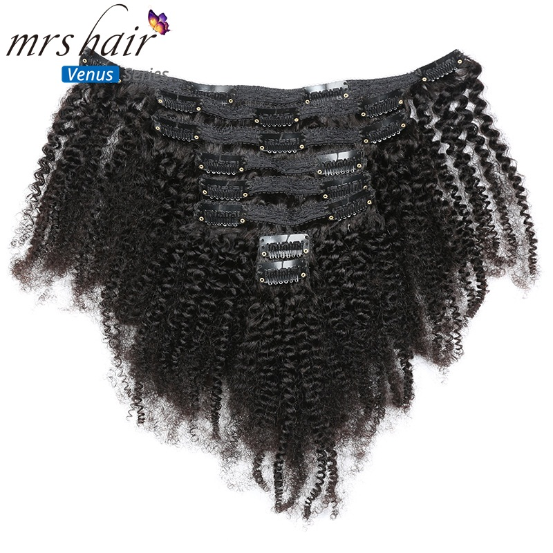 Mrshair 8pcs/set Afro Kinky Curly Wave Human Hair Clip In Hair Extensions 8-20 Natural Color Full Head 120g Middle Thick With The Most Up-To-Date Equipment And Techniques Clip-in Full Head Hair Extensions