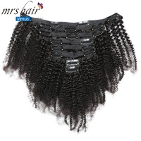MRSHAIR 8pcs/set Afro Kinky Curly Wave Human Hair Clip In Hair Extensions 8 20 Natural Color Full Head 120g Middle Thick