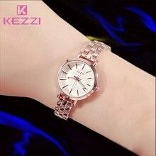 KEZZI Famosa Marca Mujeres Del Reloj de Cuarzo Completa de Acero Inoxidable Relojes de Pulsera Vestido de Las Señoras Rhinestone Reloj Pulsera Regalo Montre Femme