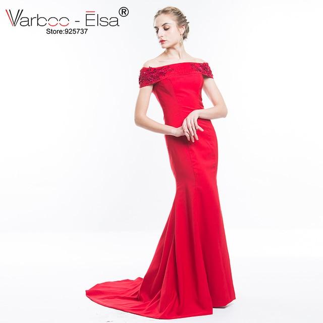 3f22e73d5a5 VARBOO ELSA Elegant Red Satin Mermaid Evening Dress 2018 New Sexy Boat Neck  Off Shoulder Long Prom Dresses Custom robe de soiree