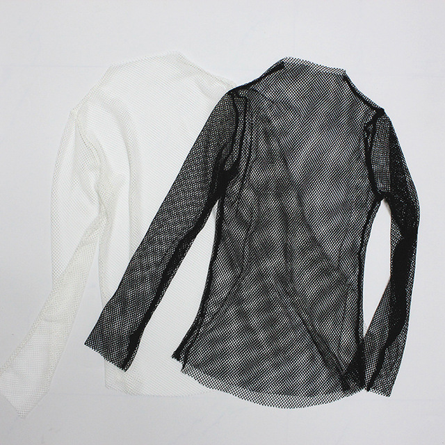 Women Fishnet Mesh See-through Black shirts Female Harajuku Sexy Long Sleeve Tee Tops