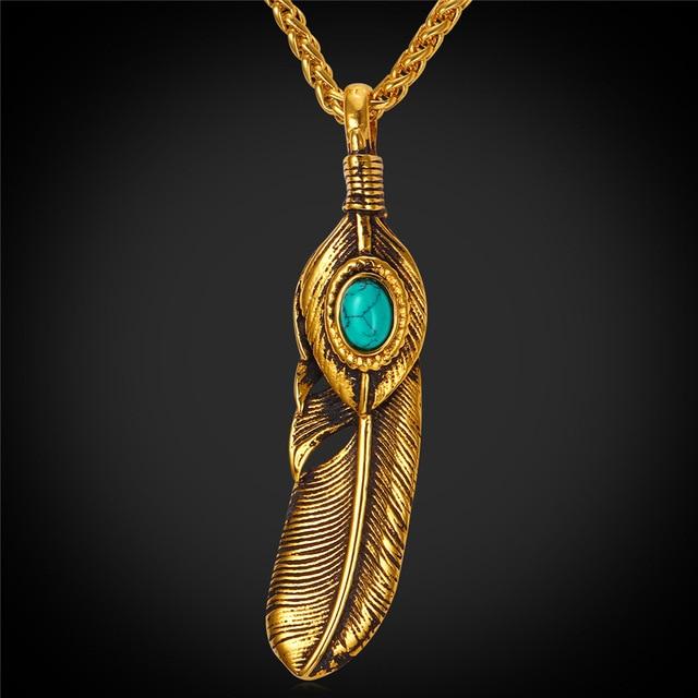Dream catcher necklace pendant feather design with blue stone dream catcher necklace pendant feather design with blue stone stainless steel gold color bohemian vintage aloadofball Images