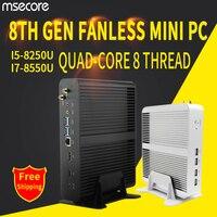 MSECORE i5 8250 i7 8550U DDR4 game Mini PC Windows 10 Desktop Computer Nettop fanless pc linux barebone intel HTPC UHD620 WiFi