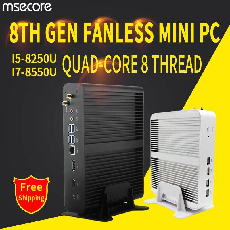 MSECORE i5 8250 i7 8550U DDR4 game Mini PC Windows 10 Desktop Computer Nettop fanless pc