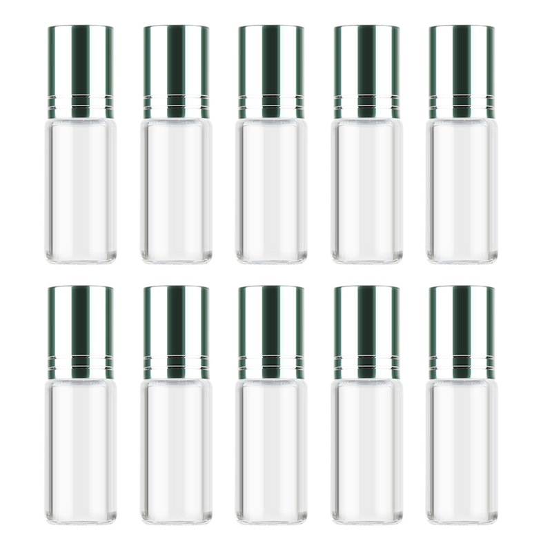 MAANGE 5pcs10ml Travel Portable Empty Refillable Glass Container Roll on Bottle Essential Oil Perfume Fragrance Pot Not Leak