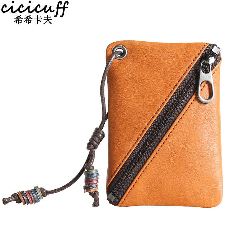CICICUFF 2018 New Coin Purse for Men Women Card Holder Genuine Leather Small Mini Slim Coin Bag Men Zipper Wallet Change Purse стоимость