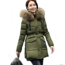 Женская Зимняя Куртка 2016 Новый Средней Длины Вниз Хлопок Куртка Плюс Размер Пальто Тонкий Дамы Повседневная Одежда С Капюшоном горячие Продажи SW070