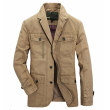 Men washed cotton casual blazer brand military jacket blazer