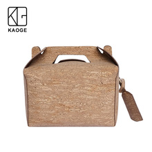 KAOGE Vegan Luxury Lunch Bag Handmade Natural Cork Vintage Handbags Cake Crossbody Bag  Shoulder Bags rustic natural cork wallet for men cork vegan handmade casual wooden eco wallet from portugal bag 200