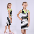 Big Size Vest Dress for Girls Sleeveless Dresses Stripe Summer Children Clothing Cotton Infant Vestidos Casual Teenager Sundress